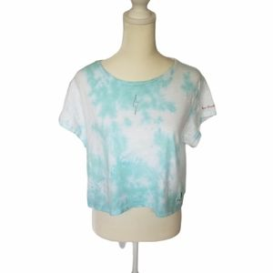 Peace love world cropped tie dye tee lightning